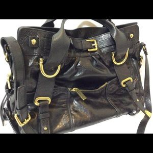 leather Authentic Kooba Handbag.Black leather bag